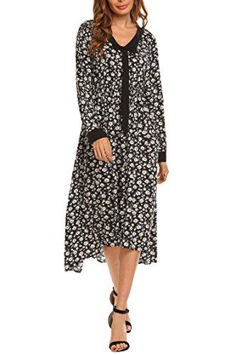 Beyove Women's Casual Floral Print V Neck Tie Collar Long Sleeve Long Maxi Resort Dress