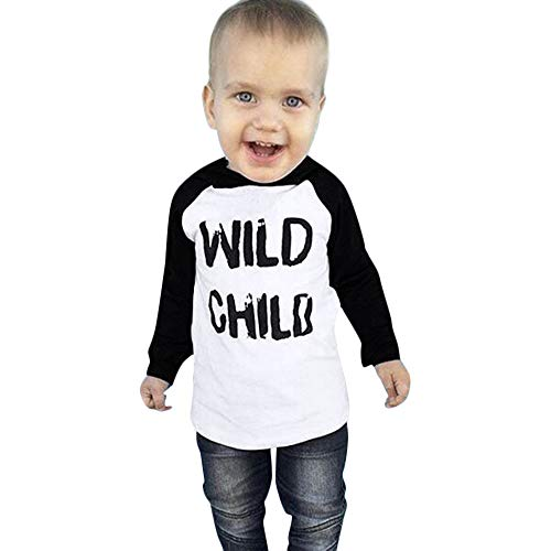 Toddler Baby Kids Tops Boys Girls Long Sleeves Letter Print Hoodie Blouse Clothes (3 years old, White)