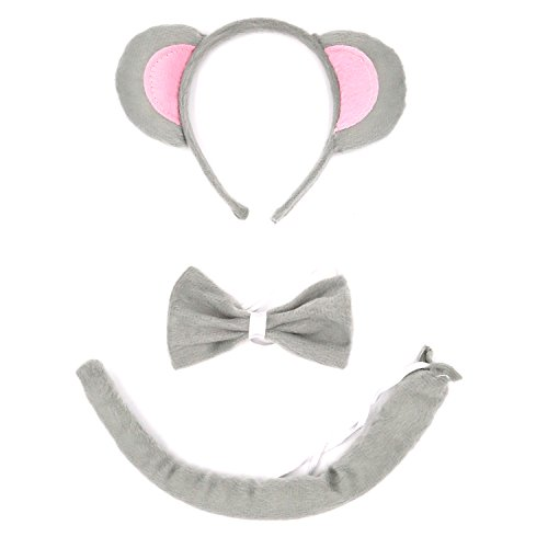 Wolf Ears Tail Costume Set (Animal Costume, AOZKY Kids Childs Accessory Kit Wolf Antlers Mouse Dalmatian Ear Headband Tail Tie Set For Cosplay Party Halloween (Mouse))