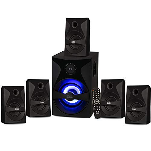 Image of Acoustic Audio by Goldwood AA5400 Bluetooth 5.1 Speaker System with Sub Light and FM Home Theater 6 Speaker Set, Black Surround Sound Systems