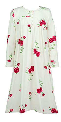 (Carole Hochman Women's Luxe Cozy Fleece Waltz Gown, Roses, L)