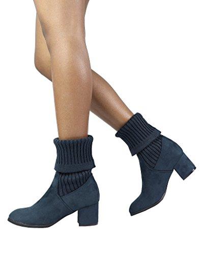 DREAM PAIRS Damen ANKLEG Chunky Heel Ankle Booties Dunkelblau-s