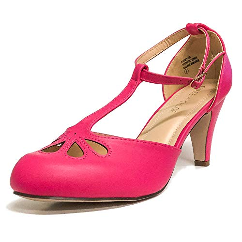 Chase & Chloe Kimmy-36 Women's Teardrop Cut Out T-Strap Mid Heel Dress Pumps (8, Fuchsia PU)