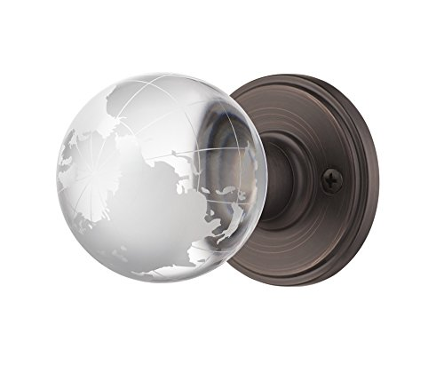 Decor Living, AMG and Enchante Accessories Modern Globe Crystal Door Knobs, Frosted Glass Design, Passage Function for Hall and Closet, Atlas Collection, DK02R BRZ, Venetian ()