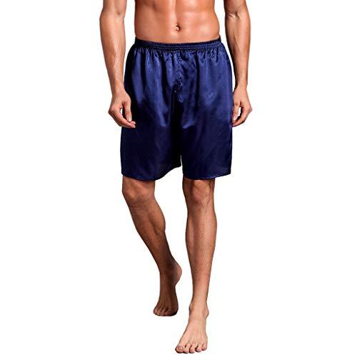 (Dreamyth-Spring Men Silk Satin Pajama Sleepwear Homewear Robes Shorts Loungewear Underwear (Blue, L))