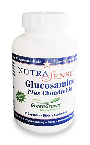 Nutrasense Glucosamine Plus Chondroitin Shellfish-Free, 500/400mg, 90ct Capsules for Healthy Joint & Cartilage ()