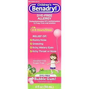 Children's Benadryl Antihistamine Allergy Relief, Dye-Free Liquid, Bubble Gum Flavored, 4 Oz