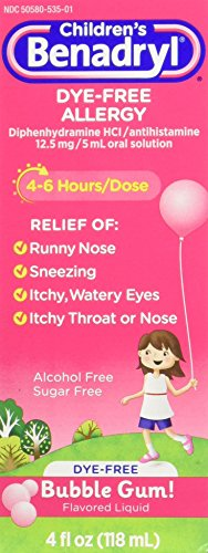 Children's Benadryl Antihistamine Allergy Relief, Dye-Free Liquid, Bubble Gum Flavored, 4 (Childrens Benadryl)