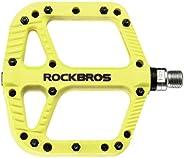 ROCKBROS Bicycle Pedals Road Mountain Bike Pedals 9/16 Nylon Fiber Flat Platform Pedals