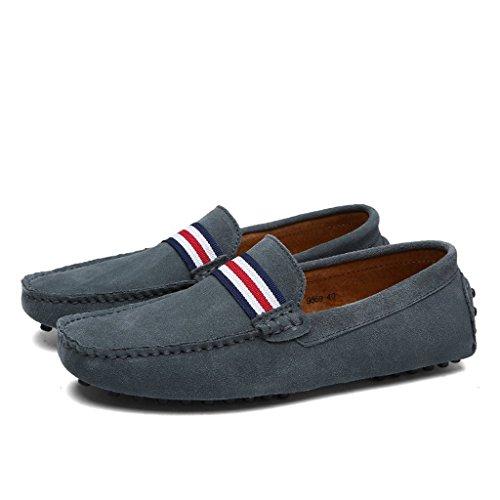 Eagsouni Mocasines Pisos de Gamuza Hombres Loafers Casual Zapatos de Conducción Zapatillas #1Gris
