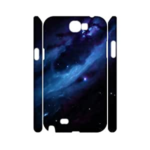 3D Samsung Galaxy Note 2 Case Blue Nebula 2, [White]