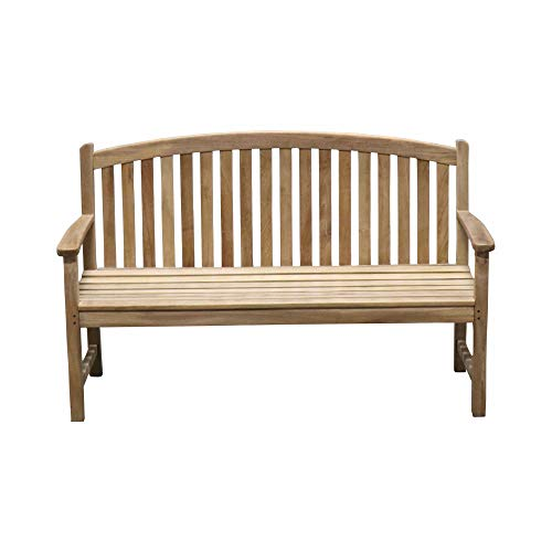 Titan Teak Bow-Back Bench for Porches, Decks, and Patios, Outdoor Furniture | - Teak Bench Back