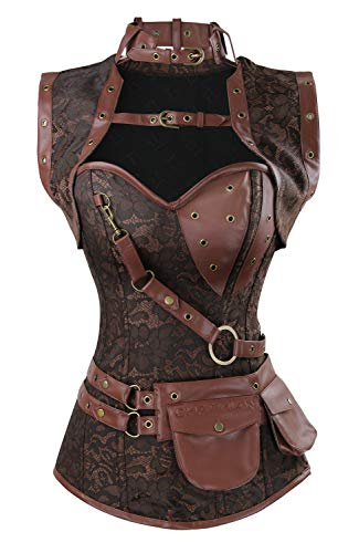 Charmian Women's Spiral Steel Boned Steampunk Gothic Vintage Brocade Corset with Jacket and Belt Coffee Brown Large from Charmian