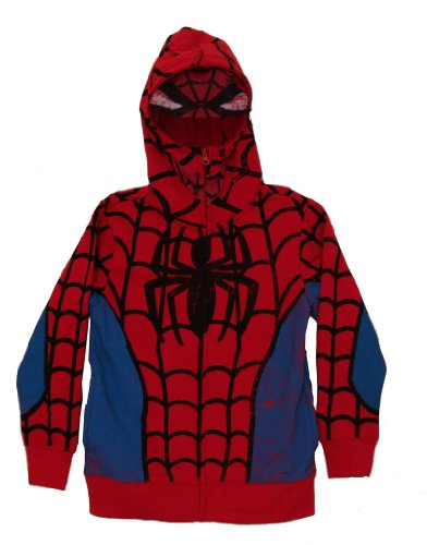 Mary Jane Costumes Spiderman (The Amazing Spider-Man Marvel Comics Costume Mask Zip Up Youth Hoodie)