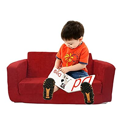 Fun Furnishings 55234 Toddler Flip Sofa in Micro Suede Fabric, Dark Blue
