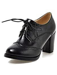 Vimisaoi Women's Leather Oxfords Cuban Brogues Wingtip Lace-up Block High Heel Saddle Shoes, Perforated Stacked Heel Pumps Flats Dress Shoes