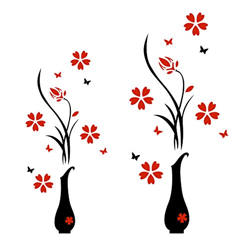 JMHWALL Wall Sticker Acrylic 3D Plum Flower Vase Wall Stickers Home Decoration Wall Decal Red Floral DIY Poster Stickers,400 x 800 mm