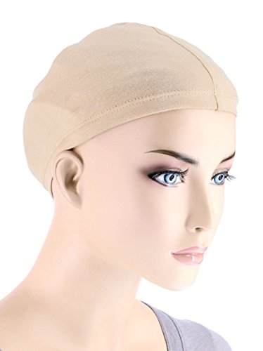 [Cotton Wig Liner Cap in Beige 2 pc pack for Women with Cancer, Chemo, Hair Loss] (Bald Wig Cap)