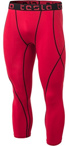 Tesla TM-MUC18-RED_Medium Men's Compression 3/4 Capri Shorts Baselayer Cool Dry Sports Tights MUC18