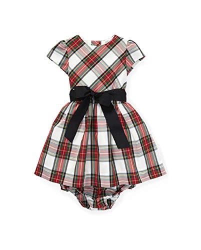 Ralph Lauren Girls Tartan Plaid Dress & Bloomer, White Tartan Color, Size 12 Months