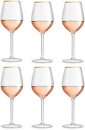 Libbey Copa de vino Atlin - 380 ml / 38 cl - 6 Piezas - Borde Dorado - Clásico - Festivo