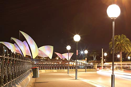 Home Comforts Peel-n-Stick Poster of Sydney Circular Quay Night Architecture Opera House Vivid Imagery Poster 24 x 16 Adhesive Sticker Poster Print