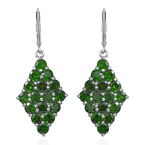 925 Sterling Silver Platinum Plated Round Chrome Diopside Silver Lever Back Earrings Cttw 7.1