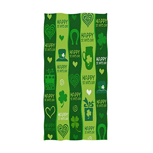 Naanle Happy St. Patrick's Day Lucky Leprechaun Hat Shamrock Clover Pattern Soft Guest Hand Towels for Bathroom, Hotel, Gym and Spa (16 x 30 Inch)