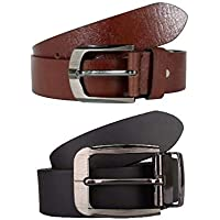 mbtees Men's Leather Belts (Brown, Free Size) -Combo Pack of 2