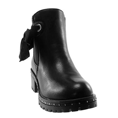 Cm Alto Elegante Scarponcini A Chelsea Boots Tacco Elastico Nero Slip Moda Scarpe Borchiati on Di Foderato Blocco Stivaletti Nodo 5 Angkorly Donna Pelliccia wqSUaW