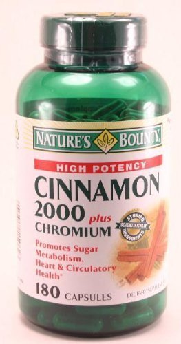 Nature's Bounty High Potency Cinnamon 2000 Plus Chromium 180 Capsules Per Bottle (Pack of 2)