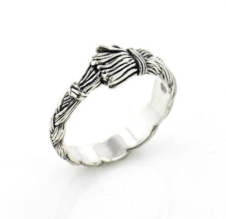Braided Sweet (Native American Wolfwalker Braided Sweetgrass Sterling Silver Band Ring Size 5(Sizes 4,5,6,7,8,9,10,11,12,13,14,15))