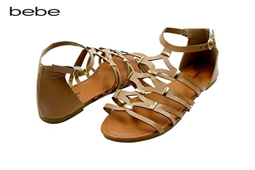 bebe Girls Gladiator Style Ankle Strap Flat Sandal With Gold Accents Tan Size 2/3 - Beige Dial Rubber Strap