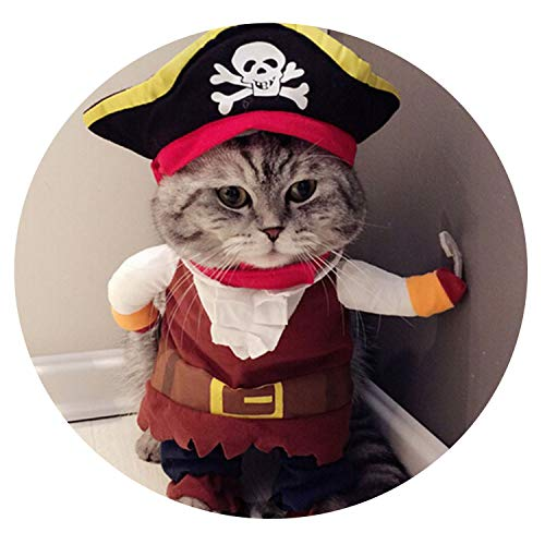 Funny Cat Clothing Pirate Costume Clothes for Cat Costume Corsair Clothing Dress Up Cat Party Costume,Cat Pirate Clothes,S