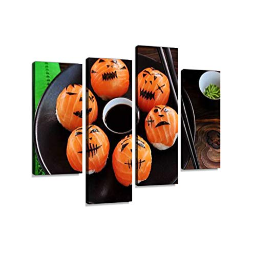 Halloween Party Sushi, Temari Sushi, Sushi Balls on Wooden Background.Canvas Wall Art Hanging Paintings Modern Artwork Abstract Picture Prints Home Decoration Gift Unique Designed Framed 4 (Halloween Gourmet Dinner Party Menu)