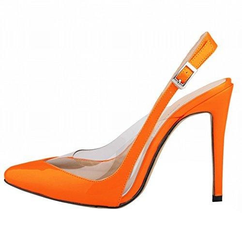 Wotefusi Women Close Heels Summer Stilettos Ankle Transparent Sandals Splicing High Strap Orange Shoes Toe ZZdrBqw