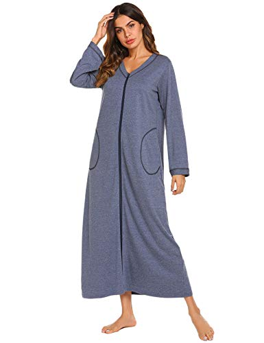 Ekouaer Night Shirt Womens Nightgown Robe Long Sleeve Nightshirt Full Length V Neck Sleep Loungewear Zipper,Blue,Medium