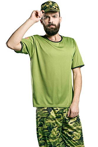 La Mascarade Adult Men Army Costume Camo Pants Cap Tee Recruit Soldier Party Military Cosplay (Medium/Large, Army - Guy Costume Gun Top