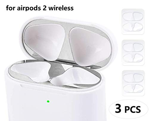 JNSA Dust Guard for AirPods with Wireless Charging Case (Latest Model) [Chromium Plating][Protect AirPods from Metal Dust][Upgrade Slim] AirPods Dust Proof Film Protector (3 Set - Bling Silver) ()