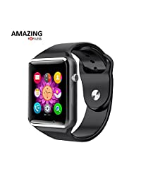 Bluetooth Smart Watch with Camera G10 Series, Amazingforless Smart Watch with Sim Card Slot for Android Smartphones (Black)