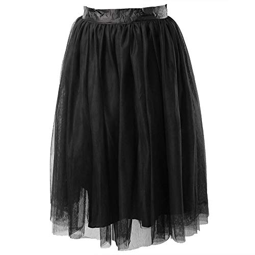 Keetall Fashion Rockabilly Petticoat Womens Skirt Women Girls Length Fan Costume Black M ()