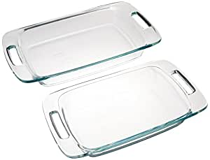 Pyrex Easy Grab 2-Piece Oblong Glass Bakeware Dishes