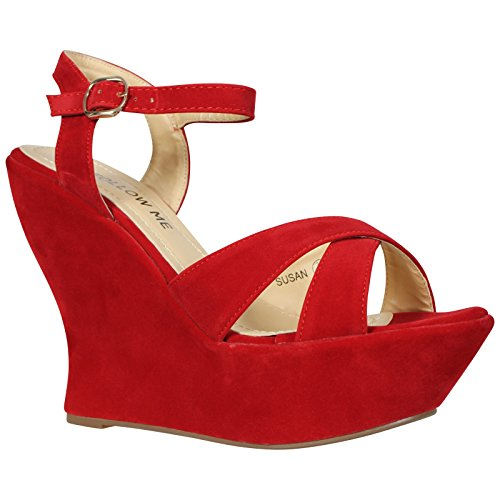 CORE COLLECTION Womens Ladies HIGH Heel Ankle Strap Platform PEEP Toe Shoes Size 3-8 Red Suede