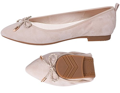 ABUSA Womens Leather/Suede Ballet Flat Foldable Pointed Toe Shoes Flats-nude Suede cTI9zBkRiD