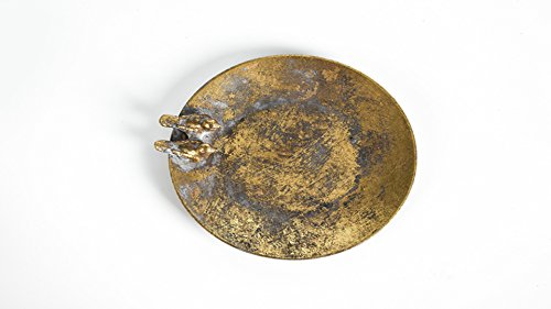FASHIONSTYLE Decorative 2 Birds Design Round Metal Vintage Service Bowl/Jewelry Tray/Candy and Nut Dishes,yellow from FASHIONSTYLE
