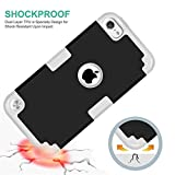 iPod Touch 6 Case, MCUK 3 In 1 Hybrid Cover Silicone Rubber Skin Hard Combo Bumper Scratch-Resistant Case Fit For Apple iPod Touch 5 6th Generation (Black+Grey)