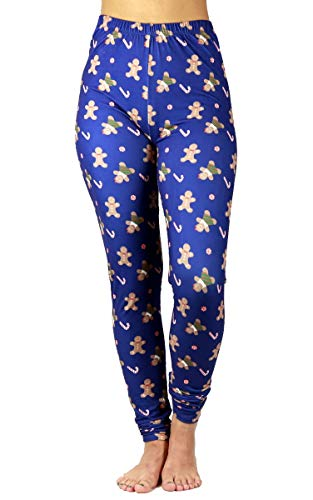 - Just One Womens Christmas Leggings Soft Brushed Xmas Winter Gingerbread Candy Cane, Navy Blue Medium