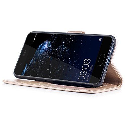 Funda Huawei P10 Lite, WE LOVE CASE Piel y Tipo Cartera Carcasa Funda Flor Huawei P10 Lite con Tapa Flip Wallet caso de Cuero Billetera Original Funda Que Se Pega con Ranura Para Tarjeta Card Holder y Golden
