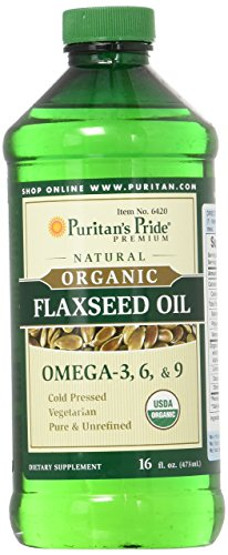 Puritan's Pride Organic Flaxseed Oil, Cold-Pressed, Source of Vegetarian Omega 3-6-9, 16 Fluid Ounce, Pack of 1 (Flax Seed Oil Spray)