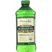 Puritan's Pride Organic Flaxseed Oil, Cold-Pressed, Source of Vegetarian Omega 3-6-9, 16 Fluid Ounce Liquid